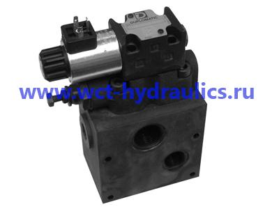 Модульная монтажная плита с перепускным предохранительным клапаном и клапаном электроуправления разгрузкой насоса P4D-RQM5